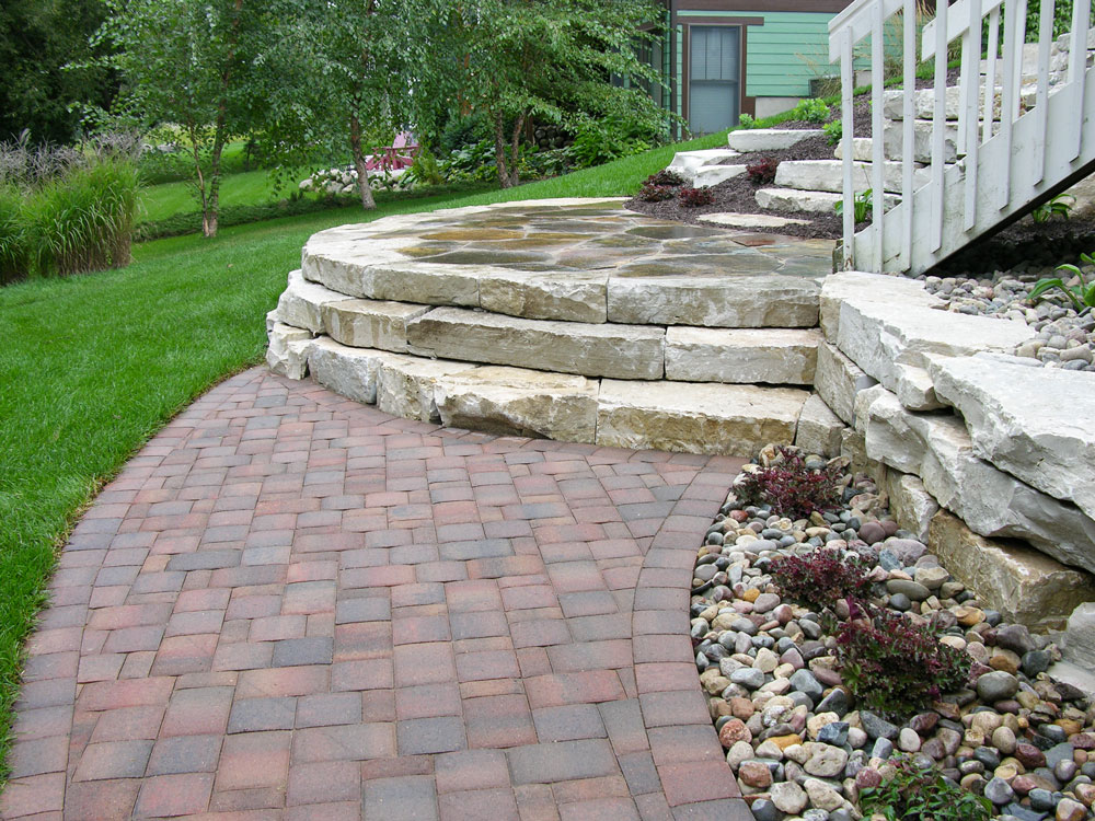 The paver walkway leading to the Eden stone steps.