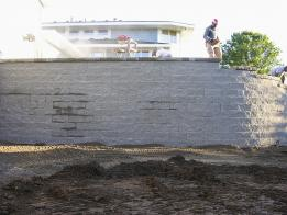 The retaining wall is nearly finished.