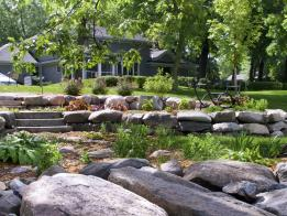 The homeowners wanted a place to relax on their property while their new house is being built.