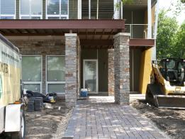 The newly installed walkway made with permeable pavers.