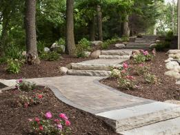 Once an eroded hillside, this space has been transformed with a new pathway.