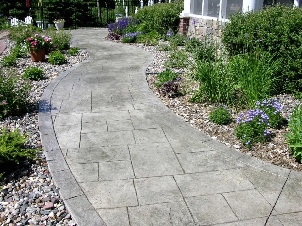 Walks and entryways yardmasters landscaping company - Stamped concrete walkway ideas ...