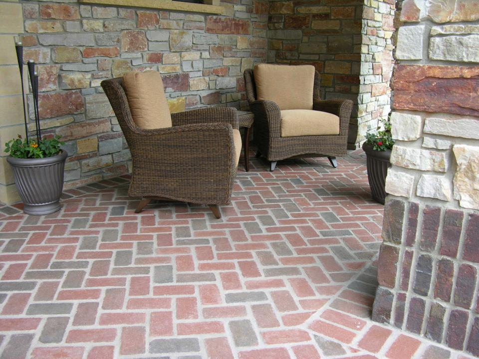 Herringbone Patio Front Entry